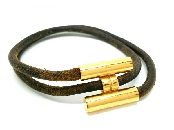 HERMES(エルメス) バングル トゥルニス 金属素材×レザー ゴールド×ダークブラウン