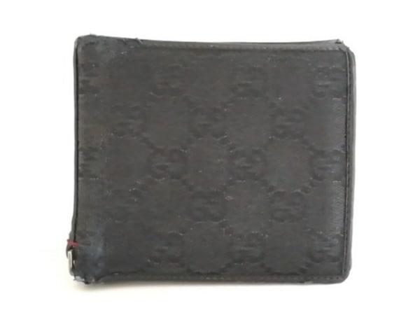 GUCCI(グッチ) 2つ折り財布 シェリー/GG柄 131927 黒×ダークグリーン×レッド