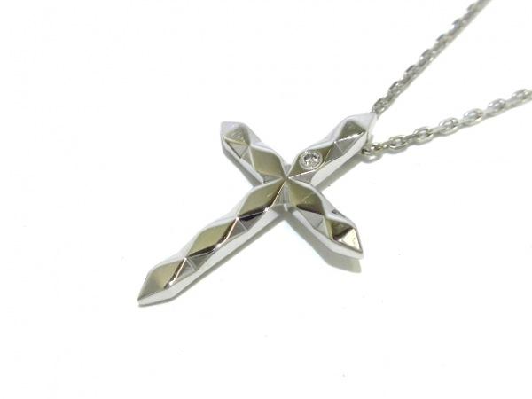 BOUCHERON(ブシュロン) ネックレス美品  ファセットクロス K18WG×ダイヤモンド