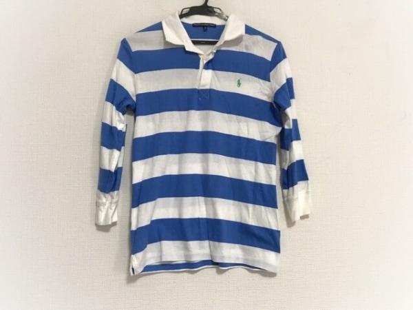 ラルフローレンゴルフ 長袖ポロシャツ サイズM レディース美品  白×ブルー ボーダー