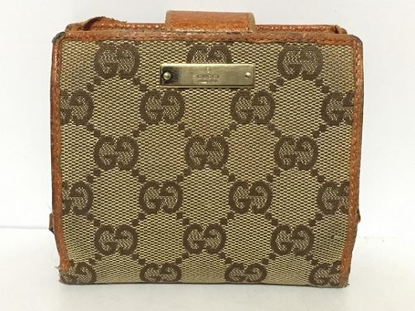 GUCCI(グッチ) 2つ折り財布 GG柄 146568 ベージュ×ダークブラウン×ブラウン