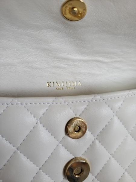 kimijima(キミジマ) ハンドバッグ 白×ゴールド キルティング レザー×金属素材