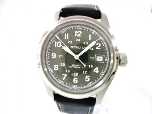 ハミルトン 腕時計美品  カーキ H704450 メンズ 裏スケ/革ベルト/要OH カーキ