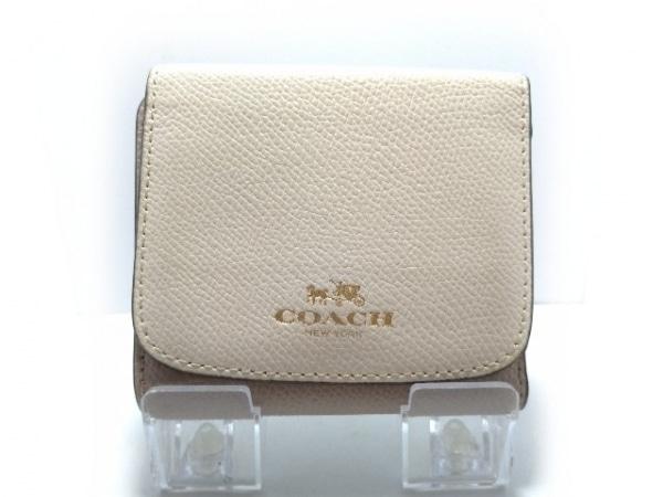 COACH(コーチ) Wホック財布 - グレージュ×アイボリー レザー