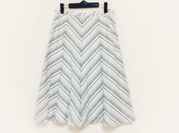 Leilian(レリアン) ロングスカート サイズ13+ S レディース ライトブルー×白×マルチ