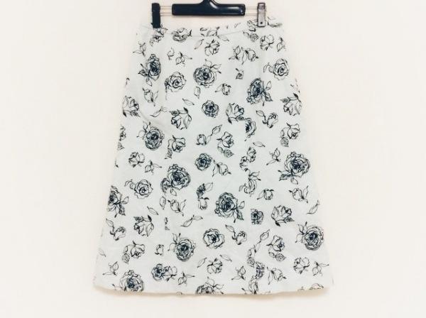 Leilian(レリアン) ロングスカート サイズ13+ S レディース ライトブルー×黒 花柄