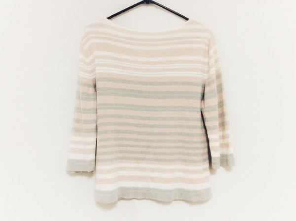 Leilian(レリアン) 七分袖セーター サイズ11 M レディース美品  ピンク×グレー×白