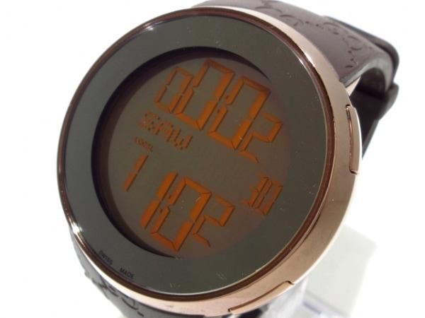 GUCCI(グッチ) 腕時計 I-GUCCI 316L ボーイズ ラバーベルト ダークブラウン