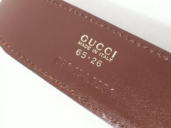 グッチ ベルト 65・26 ダークブラウン×ゴールド リバーシブル レザー×金属素材