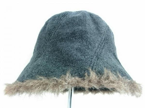 マドモアゼルザザ 帽子 M美品  ダークグレー×ブラウン ポリエステル×レーヨン