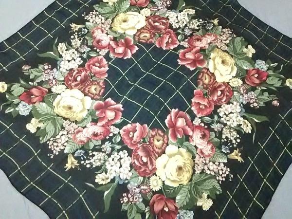 ラルフローレン スカーフ新品同様  黒×グリーン×マルチ チェック柄/花柄