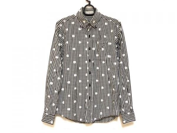 オーバーザストライプス 長袖シャツ サイズS メンズ 黒×アイボリー チェック柄