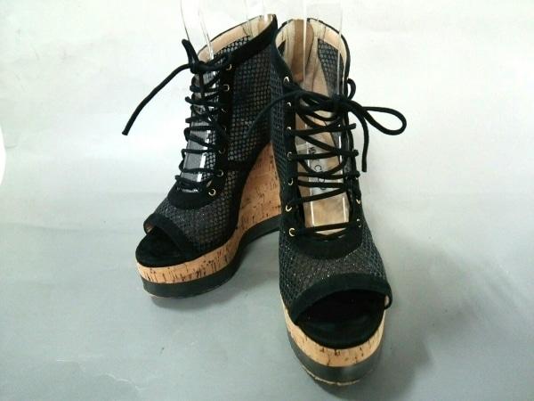 ジミーチュウ ブーツ 35 1/2 レディース 黒 ブーツサンダル/ウェッジソール/メッシュ