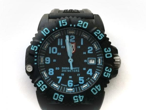 ルミノックス 腕時計美品  7050 メンズ ラバーベルト/回転ベゼル/カーボンケース