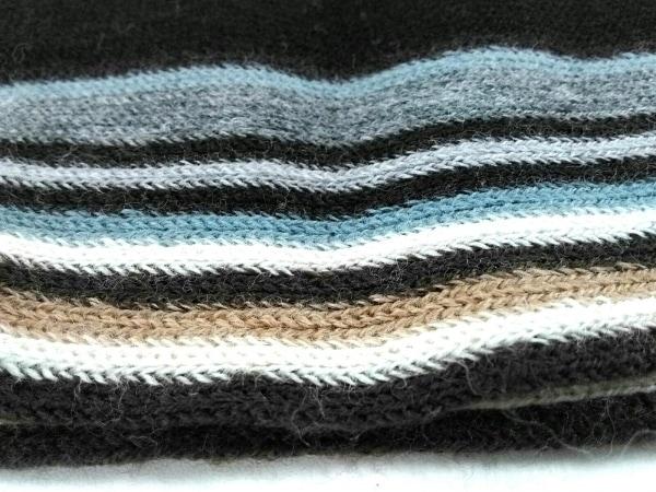 PaulSmith(ポールスミス) マフラー美品  黒×グレー×マルチ ストライプ ウール