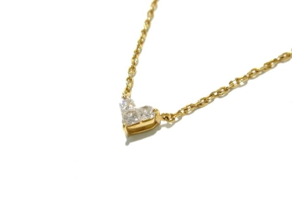 スタージュエリー ネックレス美品  K18YG×ダイヤモンド 3Pダイヤ/0.1カラット/ハート
