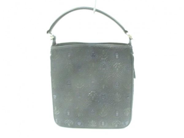 印傳屋(インデンヤ) ハンドバッグ 黒 型押し加工 レザー×漆