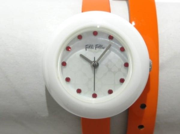 フォリフォリ 腕時計美品  WF13F030SSO レディース 革ベルト/ラインストーン 白