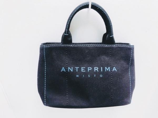 アンテプリマミスト ハンドバッグ新品同様  黒×ライトブルー キャンバス