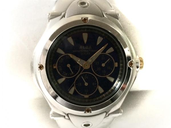 ALBA(アルバ) 腕時計 V14J-0AC0 メンズ トリプルカレンダー ネイビー