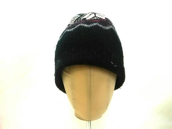 Dior HOMME(ディオールオム) ニット帽 黒×アイボリー×ボルドー ウール