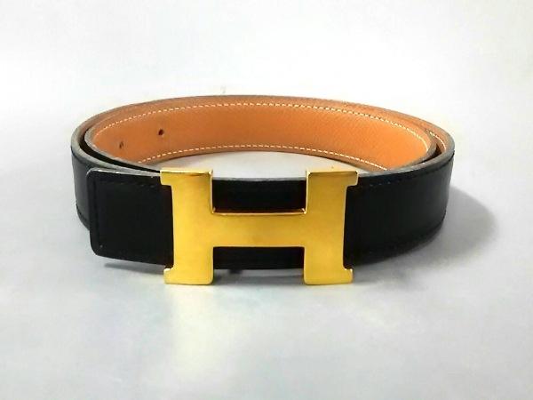 エルメス ベルト 65 Hベルト 黒×ゴールド リバーシブル/細身 レザー×金属素材
