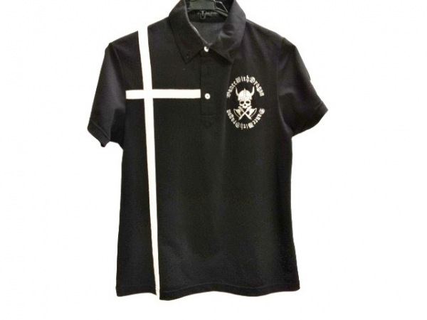 ダンスウィズドラゴン 半袖ポロシャツ サイズ2 M メンズ 黒×白 スカル