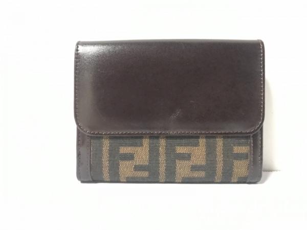 FENDI(フェンディ) Wホック財布美品  ズッカ柄 - ベージュ×ダークブラウン