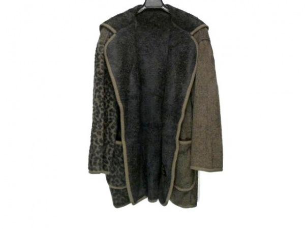 イタリヤ コート サイズF レディース ダークブラウン×黒 豹柄/冬物/肩パッド/ニット