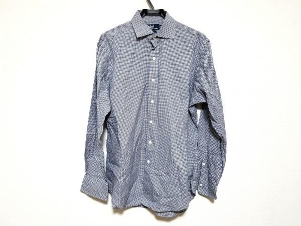 ポロラルフローレン 長袖シャツ サイズM メンズ美品  ネイビー×ブラウン×白