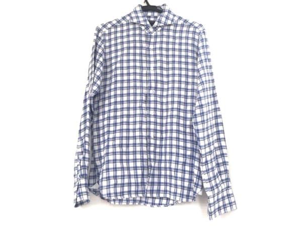 ORIAN(オリアン) 長袖シャツ メンズ 白×ブルー×ネイビー vintage/チェック柄