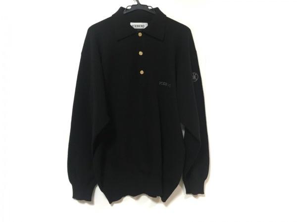 ICEBERG(アイスバーグ) 長袖ポロシャツ サイズ3 L メンズ美品  黒 ニット