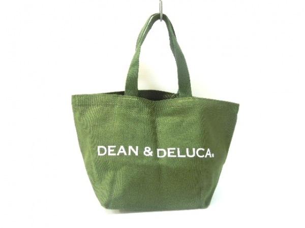 DEAN&DELUCA(ディーンアンドデルーカ) トートバッグ カーキ×白 ラメ キャンバス
