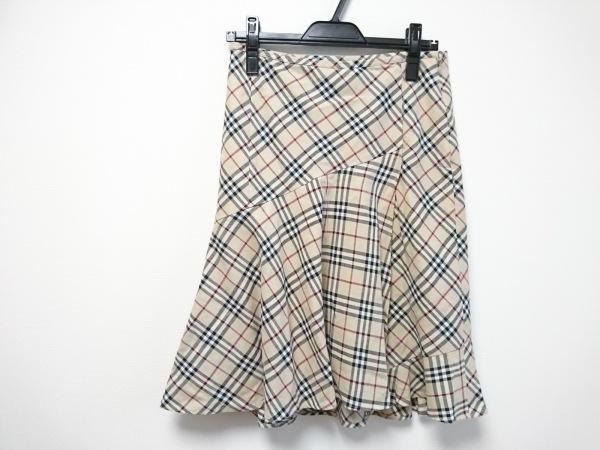 バーバリーブルーレーベル スカート サイズ38 M レディース ベージュ×黒×白