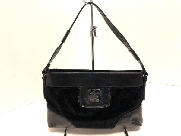 CalvinKlein(カルバンクライン) ハンドバッグ美品  黒 合皮×フェイクファー