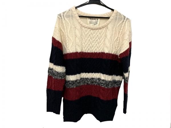 フレスカ 長袖セーター サイズM レディース新品同様  アイボリー×ネイビー×ボルドー