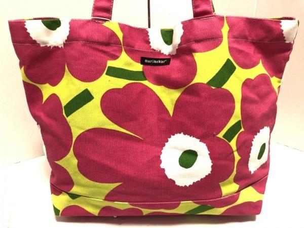 マリメッコ トートバッグ新品同様  ピンク×ライトグリーン×マルチ 花柄 キャンバス