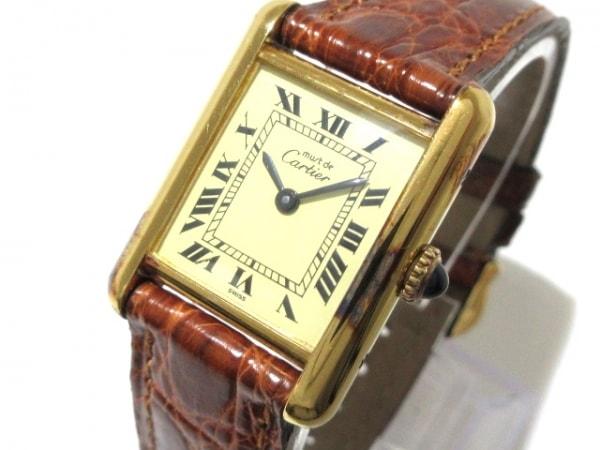 Cartier(カルティエ) 腕時計 マストタンク - レディース 革ベルト/925 ベージュ