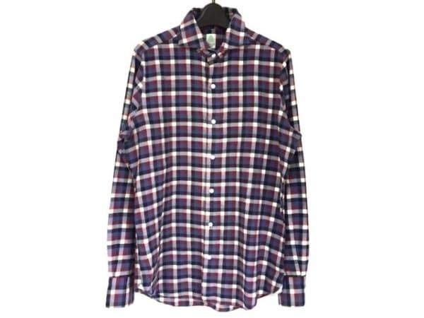 フィナモレ 長袖シャツ サイズ40 M メンズ ネイビー×アイボリー×レッド チェック柄