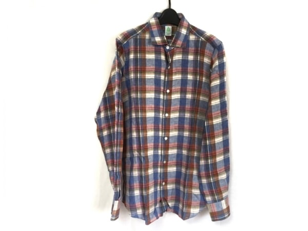 フィナモレ 長袖シャツ サイズ40 M メンズ新品同様  ブルー×レッド×マルチ