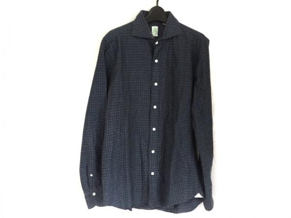 finamore(フィナモレ) 長袖シャツ サイズ40 M メンズ美品  ネイビー×黒