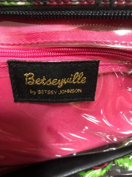 ベッツィーヴィル ハンドバッグ 黒×レッド×グリーン PVC(塩化ビニール)×合皮