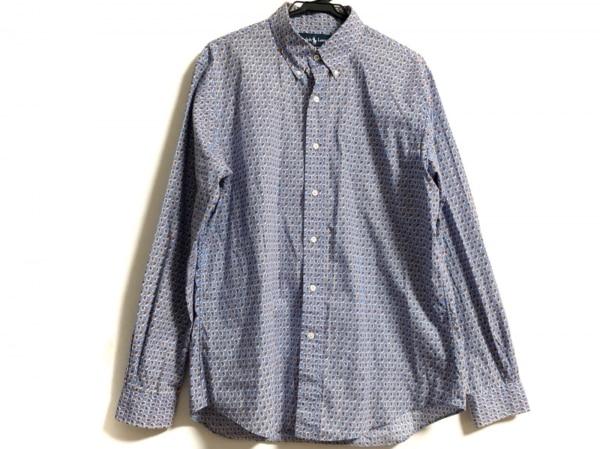 ラルフローレン 長袖シャツ サイズL メンズ美品  ライトブルー×レッド×マルチ
