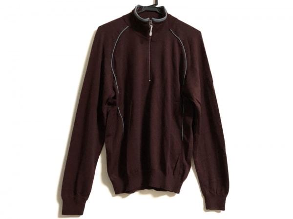 ゼニア 長袖セーター メンズ ダークブラウン×グレー ハイネック/ハーフジップ