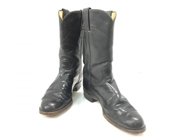 JUSTIN BOOTS(ジャスティンブーツ) ショートブーツ 5 2/1 B レディース 黒 レザー