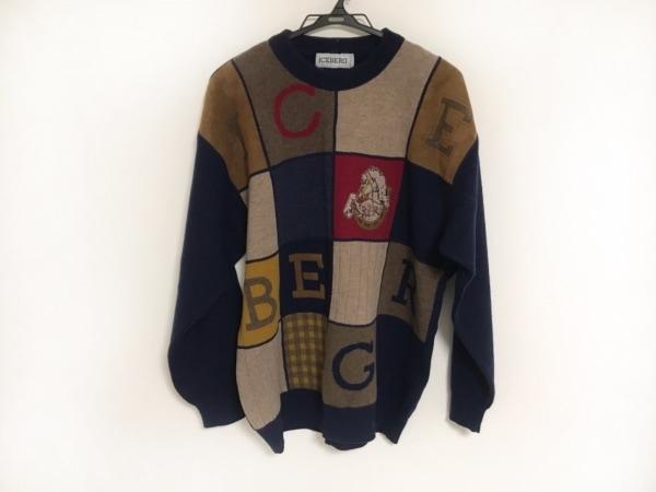 ICEBERG(アイスバーグ) 長袖セーター メンズ グレージュ×ダークネイビー×マルチ