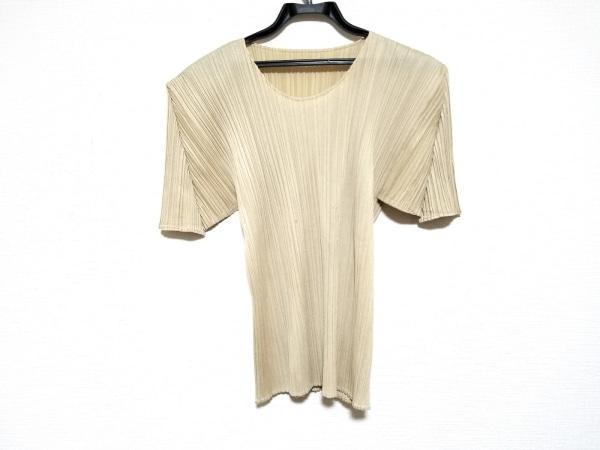 プリーツプリーズ 半袖カットソー サイズ4 XL レディース美品  アイボリー プリーツ