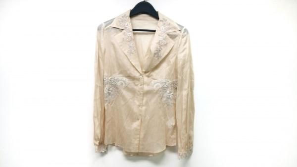 エルマノシェルビーノ 長袖シャツブラウス サイズ42 L レディース ベージュ 刺繍