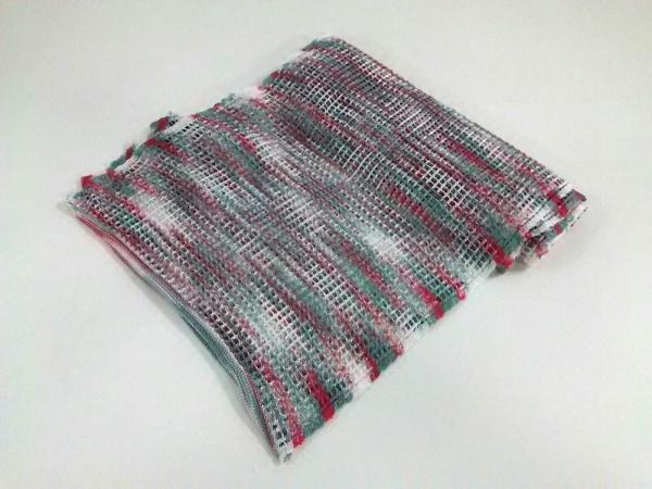 ミッソーニ ストール(ショール)美品  白×グリーン×レッド メッシュ編み レーヨン