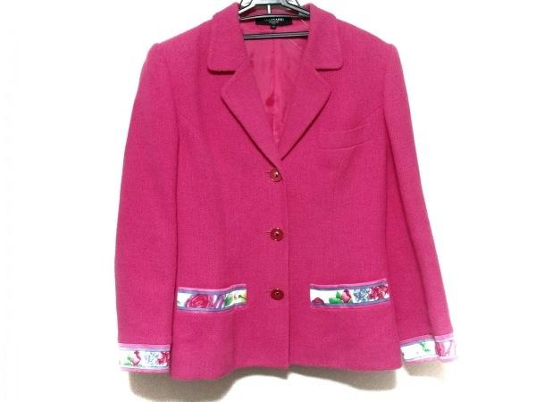 レオナール ジャケット サイズ42 L レディース ピンク×アイボリー×マルチ 花柄